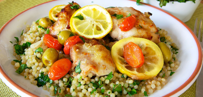 Chicken and Lemon Bake with Giant Couscous